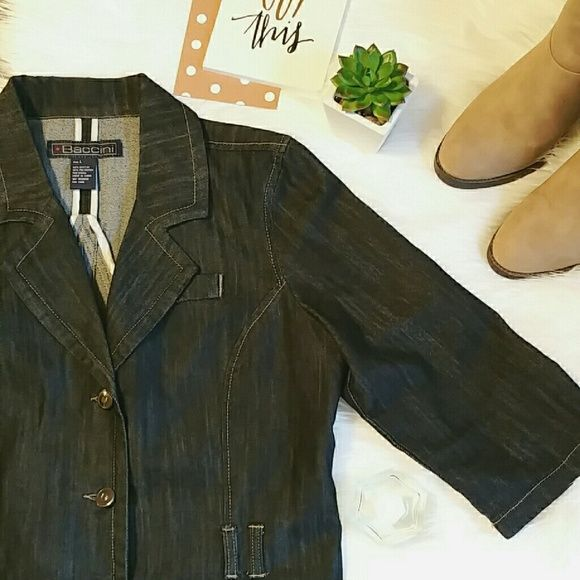 Dark Denim Blazer Jacket Like new! Dark denim blazer shaped jacket. It does not come with a belt but it does have belt loops. Silver button accents. Jackets & Coats