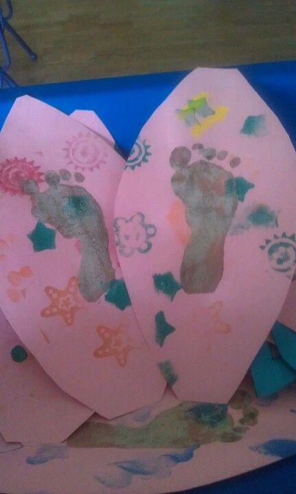 Sand footprints on paper surfboards.   Craft Ideas ...