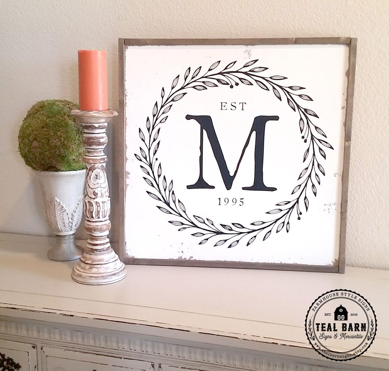 Family initial sign established date laurel wreath