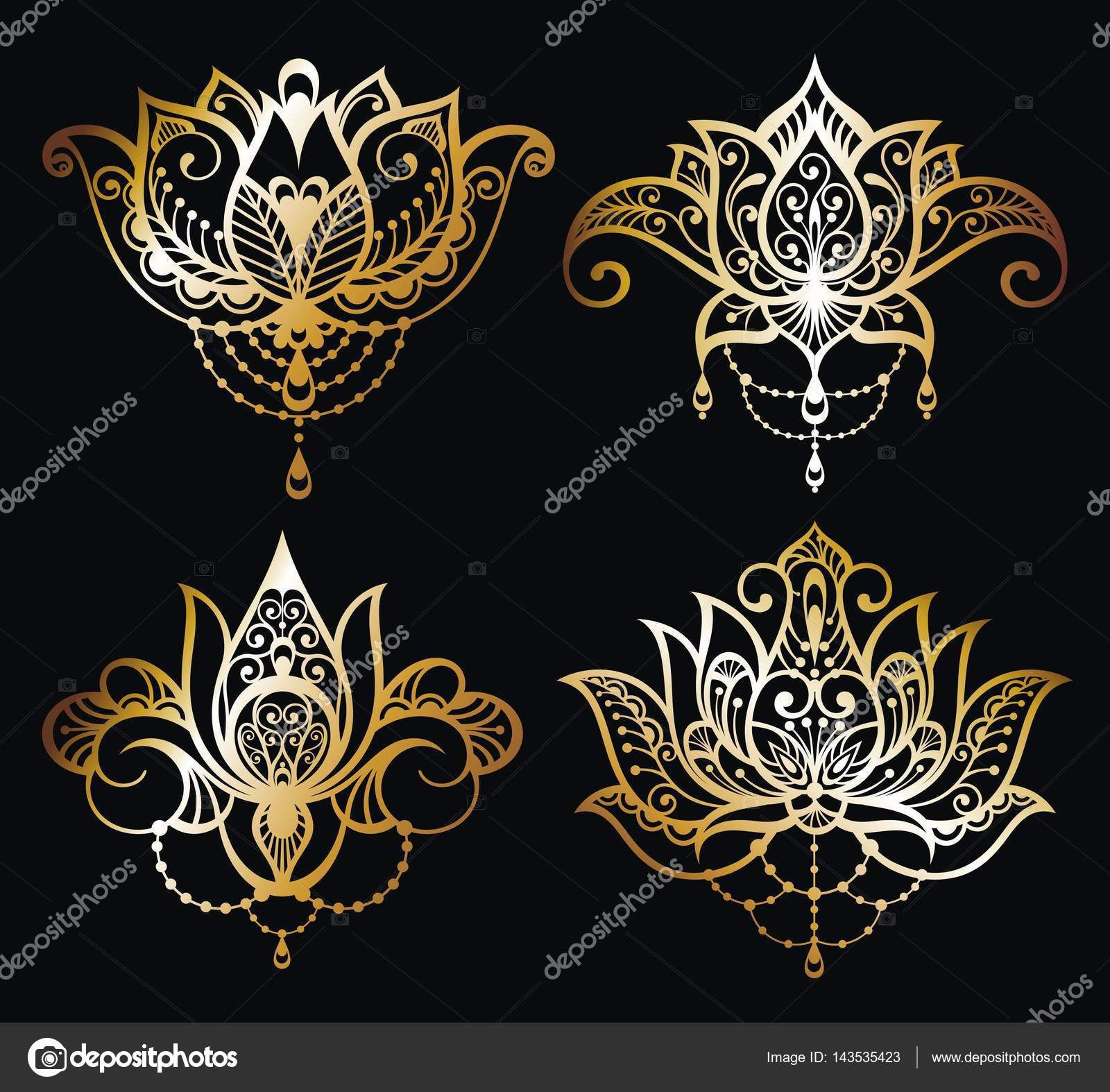 Download Gold Lotus logo vector art set design — Stock