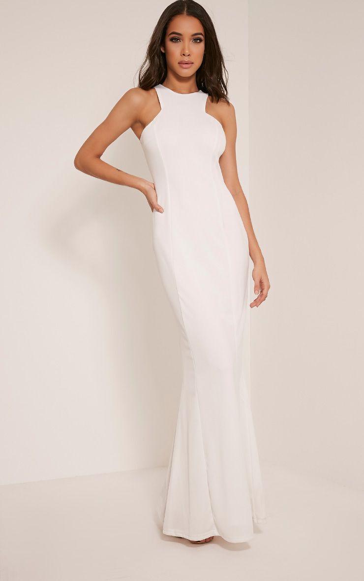 Natalia white racer neck crepe maxi dress dresses