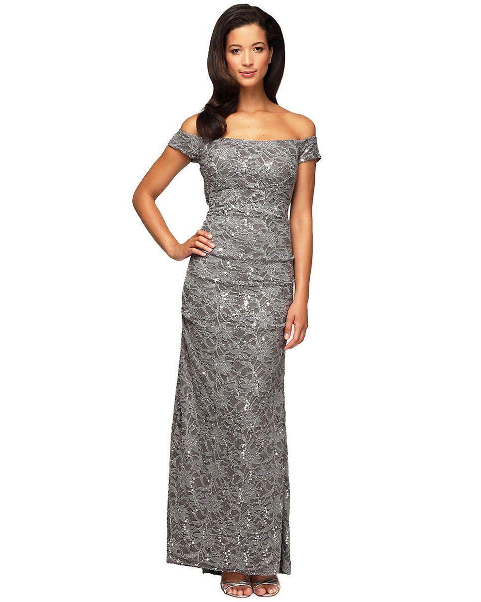 Alex Evenings Dress, Off-The-Shoulder Sequin Lace Evening Gown ...