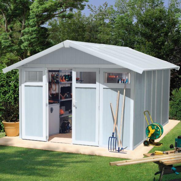Abri De Jardin Resine Grosfillex 11 2 M Utility Gris Bleu Outdoor Structures Shed Outdoor