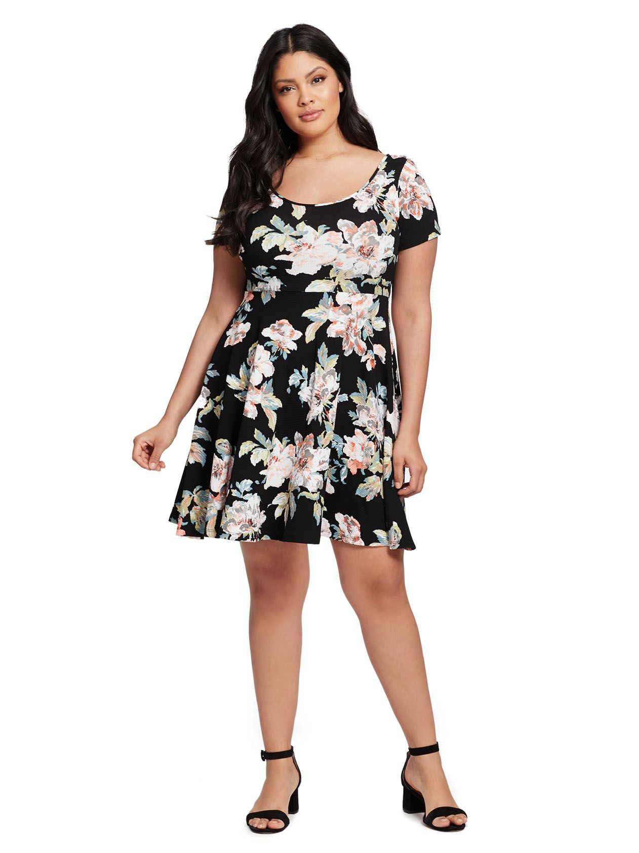8c8a733a7c0 Floral Scoop Back Fit And Flare Dress by Soprano Available in sizes 1X-3X