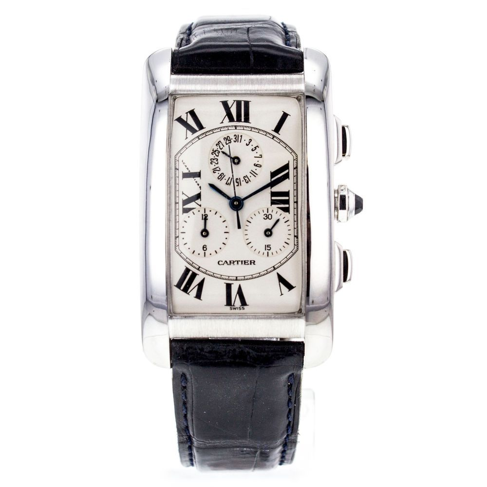 3285d0f8fe41 Cartier Tank Americaine Chronograph 2312 18K White Gold Large Size  Cartier   LuxuryDressStyles