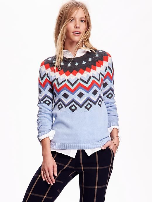 46f715f1bb2d Womens Fair Isle Sweater at Old Navy. Not sure why her hair looks ...