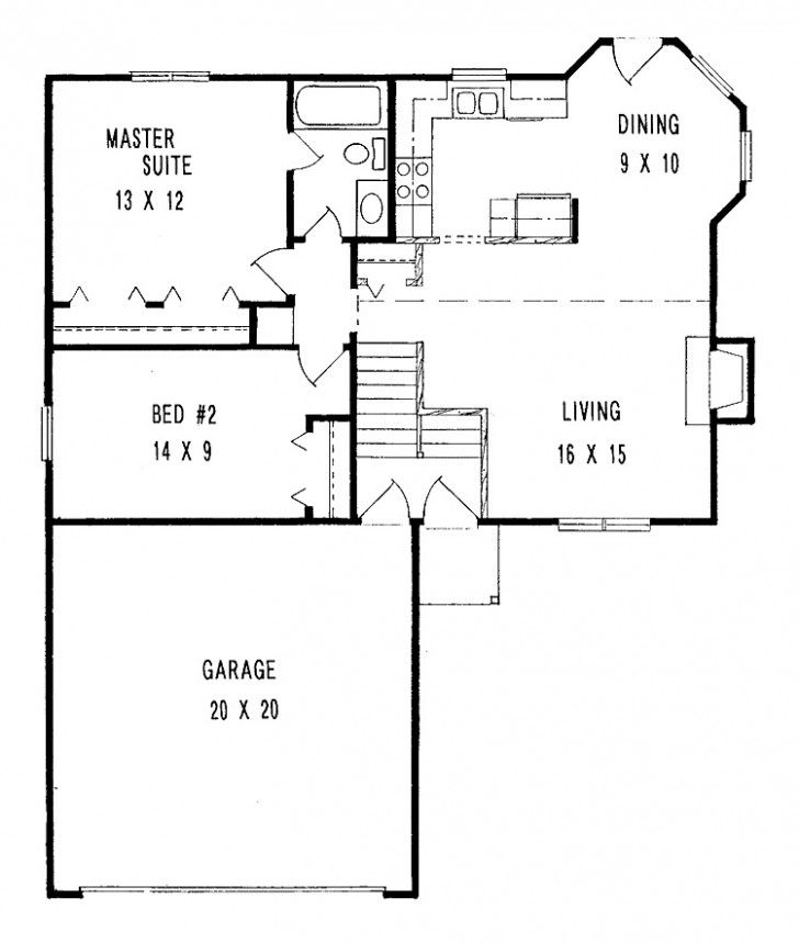 Simple Two Bedrooms House Plans For Small Home Small Minimalist Two Bedroom House Plans With Large Garag House Plans Small House Floor Plans Small House Plans