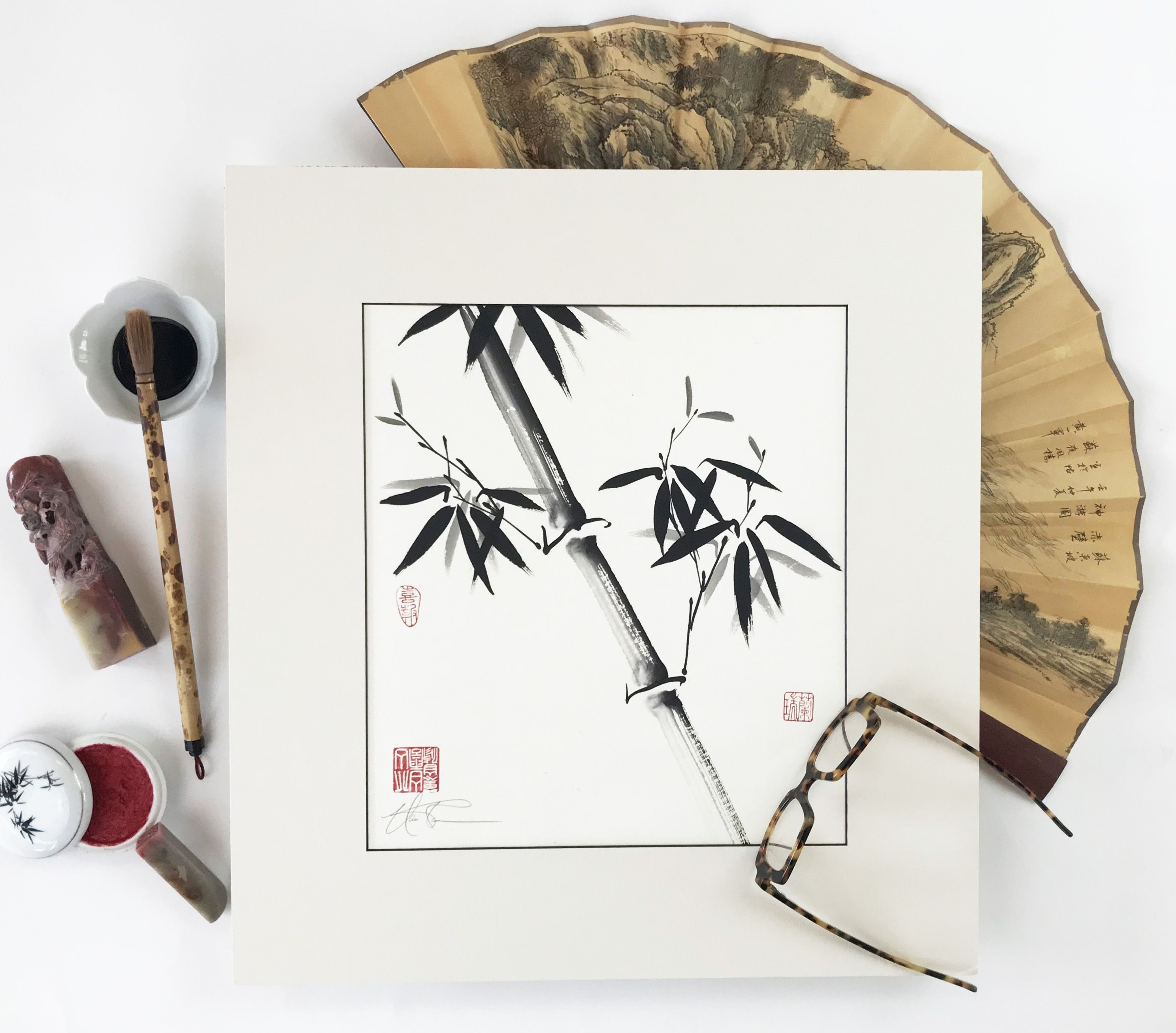 New Bamboo An Original Brush Painting By Nan Rae Chinese