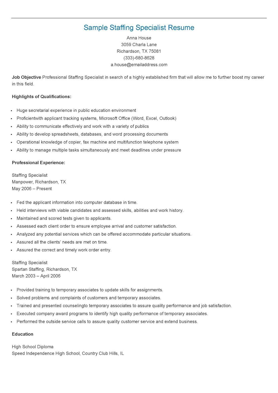 Sample Staffing Specialist Resume   resame   Pinterest