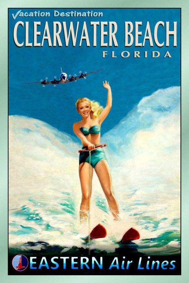 HONOLULU Hawaii TWA Airlines Pacific Waterski Travel Poster Pin Up Art Print 127