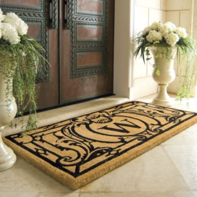 Oxford Monogrammed Coco Mat Love The 2 Flowered Urns For