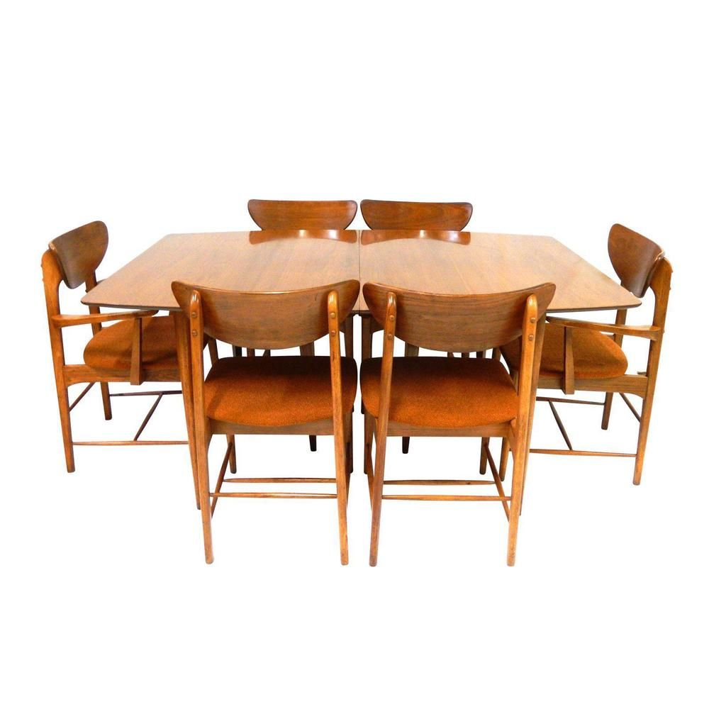 Mid Century Modern Kroehler Dining Set Table 6 Chairs Cool Vintage Orange Fabric Ebay Dining Room Sets Modern Dining Room Modern Dining Room Set