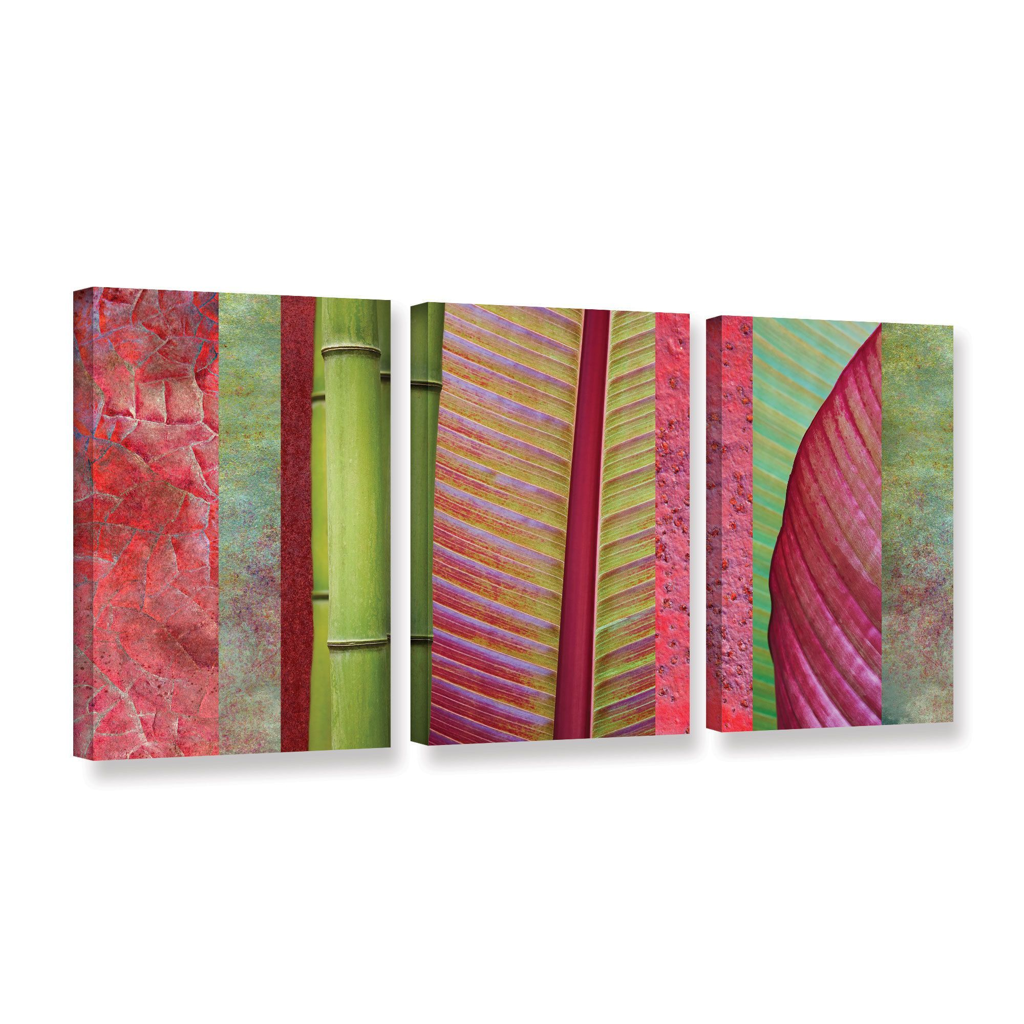 ArtWall 'Cora Niele's Green' 3-piece Gallery Wrapped Set
