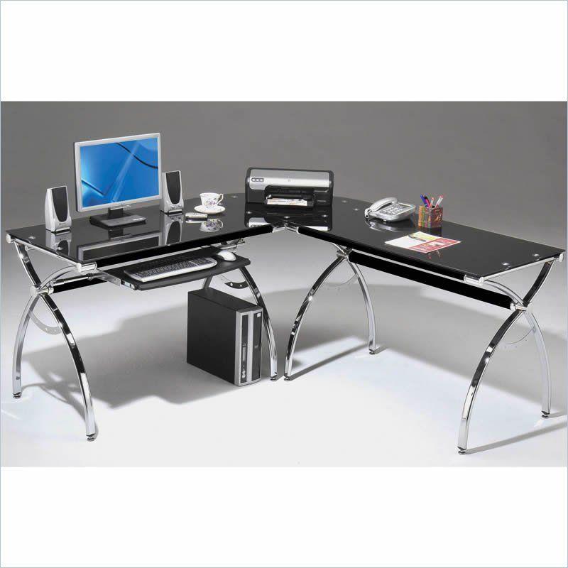 chrome office desk. techni mobili lshaped glass desk with chrome frame in black office l