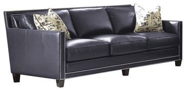 Steve Silver Hendrix Sofa W 2 Accent Pillows In Navy Blue Leather Transitional Sofas