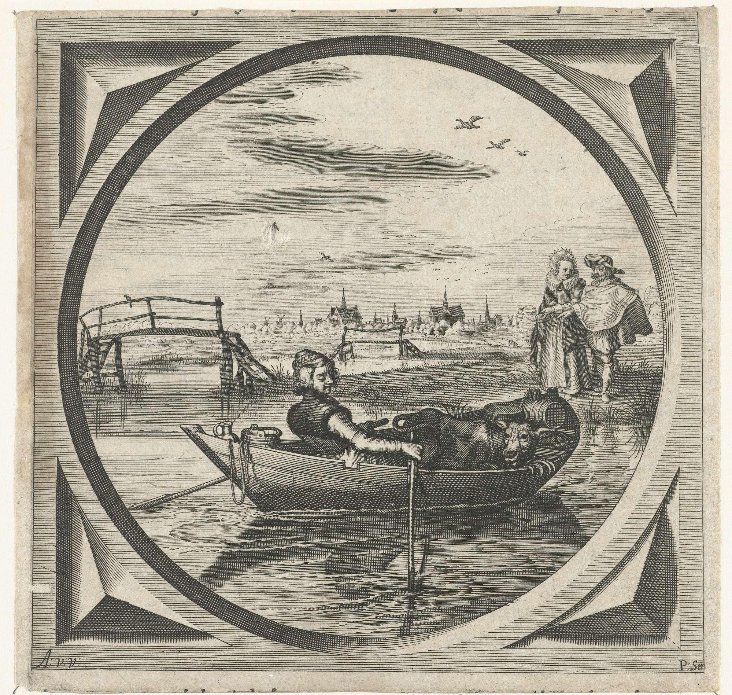 Adriaen Pietersz. van de Venne   Vrouw in een roeiboot, Adriaen Pietersz. van de Venne, Pieter Serwouters, Jan Pietersz. van de Venne, 1625   Scène met een vrouw met een koe in een roeiboot. Op de oever kijkt een elegant paar toe. Boekillustratie in Jacob Cats' 'Houwelyck. Dat is de gantsche gelegenheyt des Echten staets.' onder het hoofdstuk 'Vrijster'.