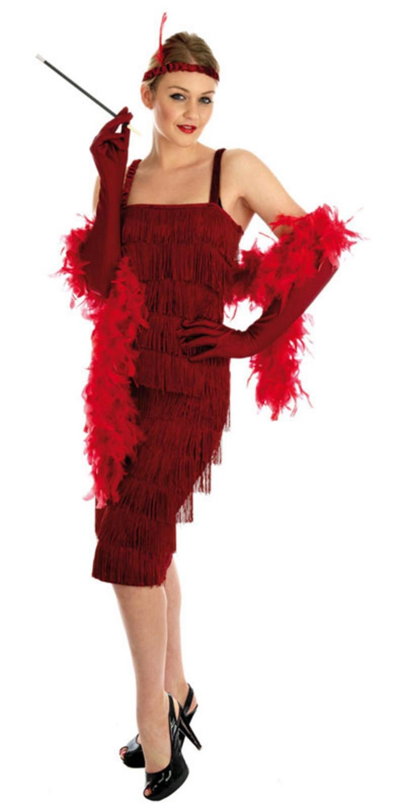 Red Flapper Roaring 20s 1920/'s Chicago Gangster Fancy Dress Costume Full Outfit