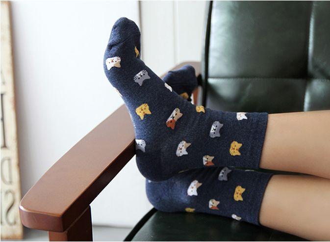 Cute Cat Face Socks