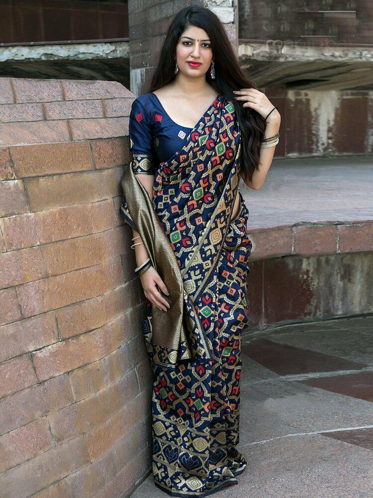 Indian Designer Saree Navy Blue Banarasi Patola Silk