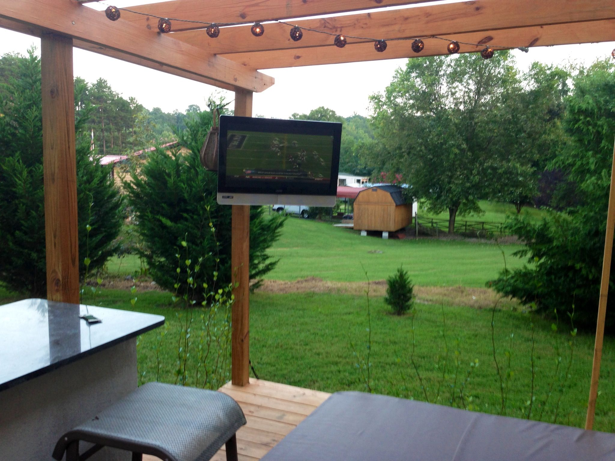 outdoor tv on new deck. sunken in hot tub. bar. | new deck ... - Patio Tv Ideas