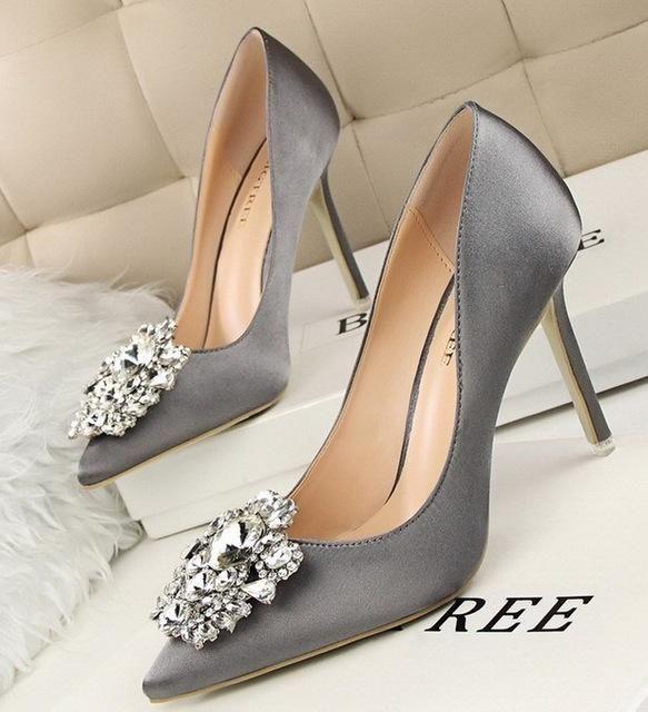 Women s Bridal Faux Silk Wedding Shoes. BIGTREE Silver Gray Black Women  Bridal Wedding Shoes Faux Silk Satin Rhinestone Crystal Shallow Woman Pumps a328e9a031fb