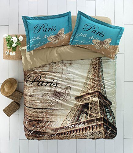 02f18f66223802 100% Turkish Cotton Ranforce Paris Eiffel Tower Theme Themed Full Double  Queen Size Quilt Duvet Cover Set Bedding 4 Pcs!! Made in Turkey