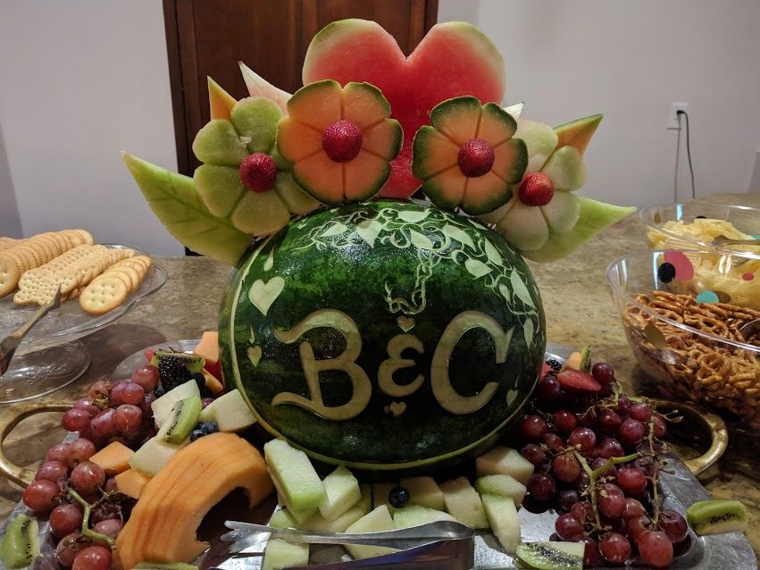 A sweet couple\u0027s bridal shower melon carving, Chef Christopher\u0027s