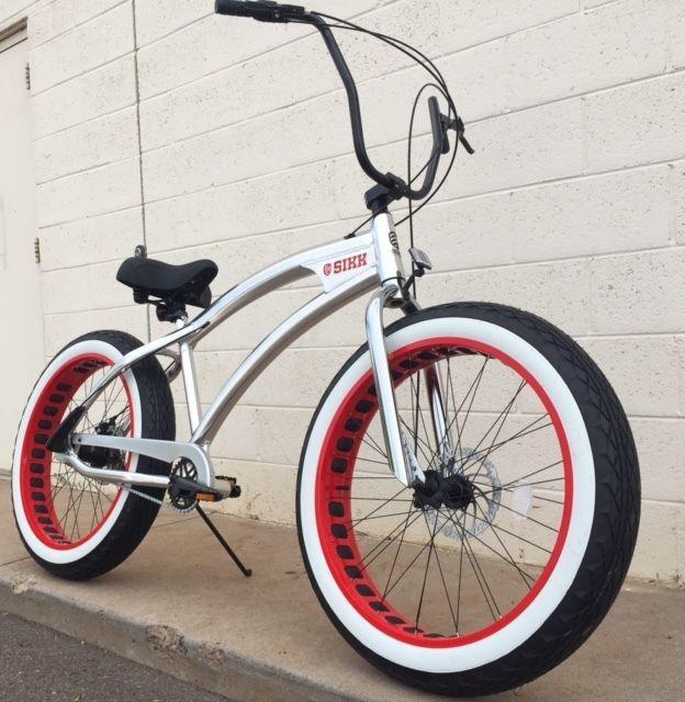 Aluminum Fat Tire Bike Beach Cruiser 🌴 Sikk 3 SPEED Polished w RED ...