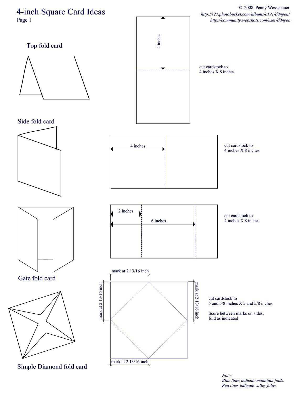 4 Inch Cards Page 1 Card Templates Card Making Templates Card Patterns