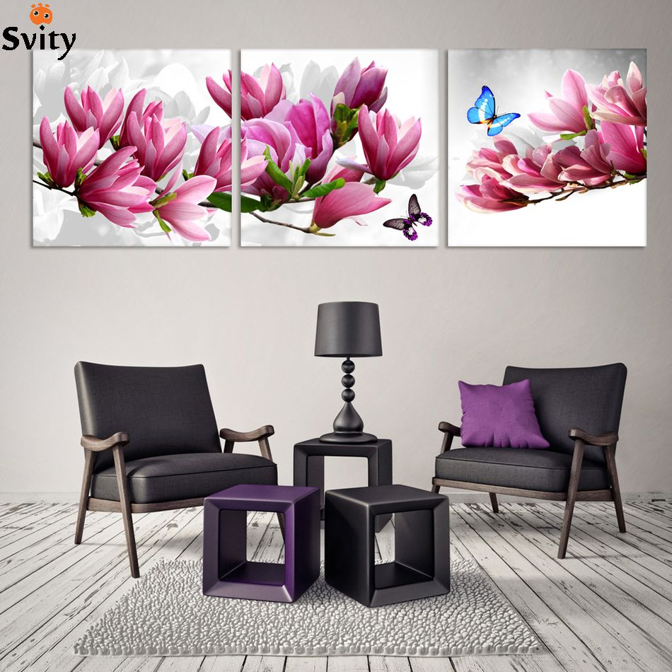 3 Panel Magnolia Flower Painting Pictures Cuadros Wall Art Home Decor Canvas Picture For Living Room Living Room Prints Modern Wall Paint Home Decor