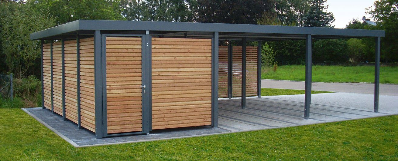 myport carport mit integriertem ger teraum wandelemente holz offen carport carports. Black Bedroom Furniture Sets. Home Design Ideas