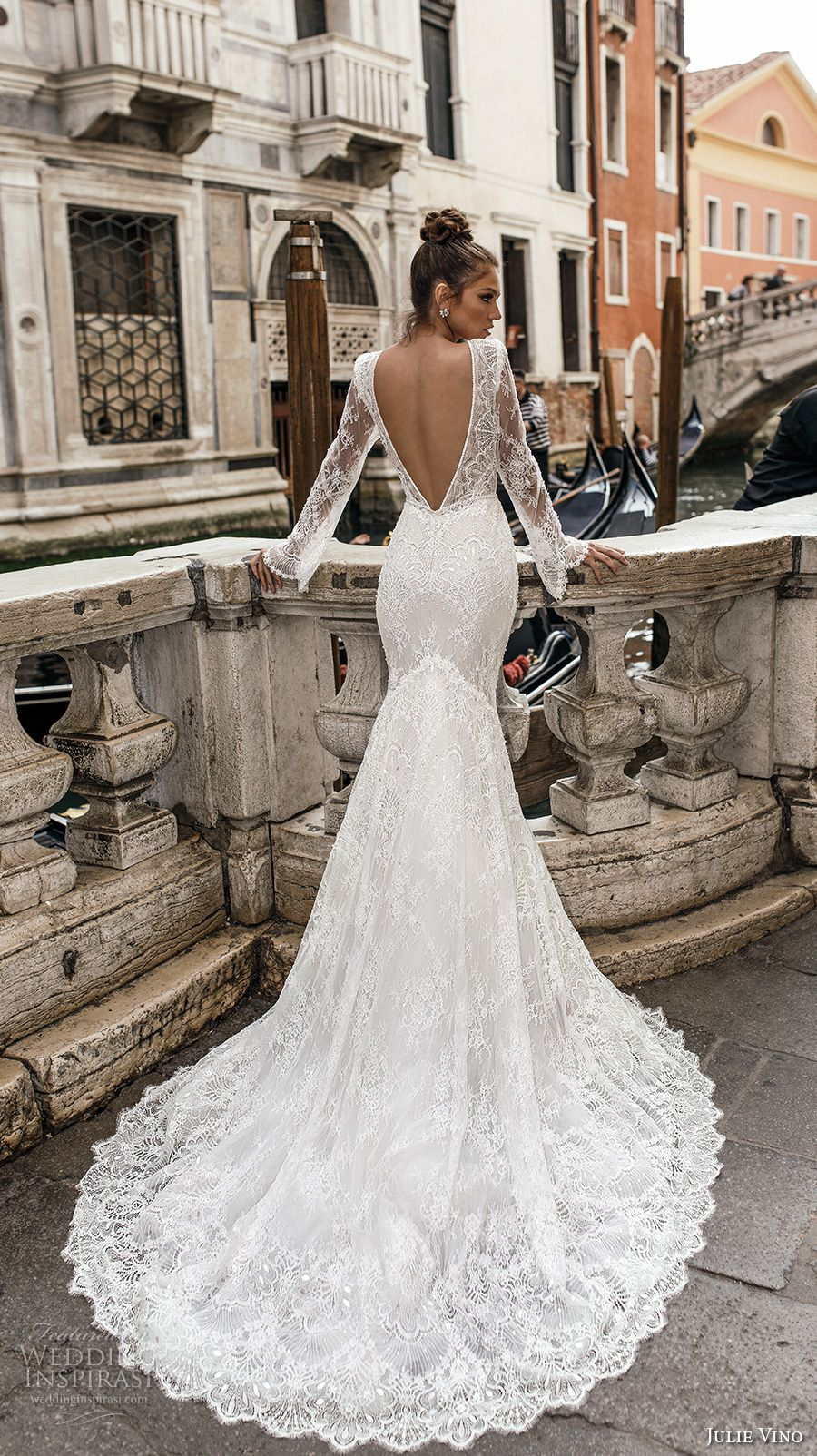 julie vino spring 2018 bridal long sleeves deep plunging v neck full  embellishment lace elegant sexy fit and flare wedding dress open v back  chapel train ... ff726cff8