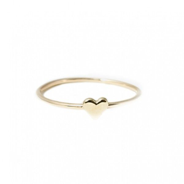 Catbird 14k Heart Stack Ring $108 ❤ liked on Polyvore featuring
