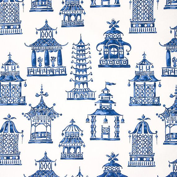 FABRIC by the yard upholstery fabric chinoiserie fabric blue and ...