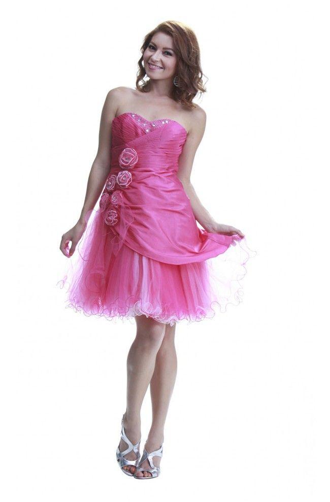 Cute Sweetheart Short Hot Pink Taffeta Tulle Cocktail Prom Dress ...
