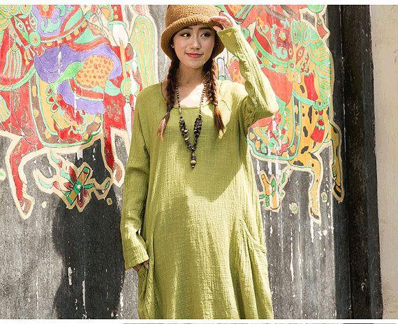 women plus size dress cotton linen dress long maxi by JulyFlower