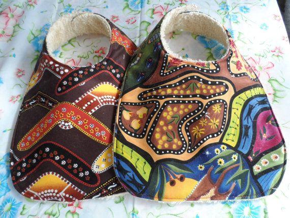 Baby Bibs  Australian Aboriginal Prints Bib  by Fiberartplus