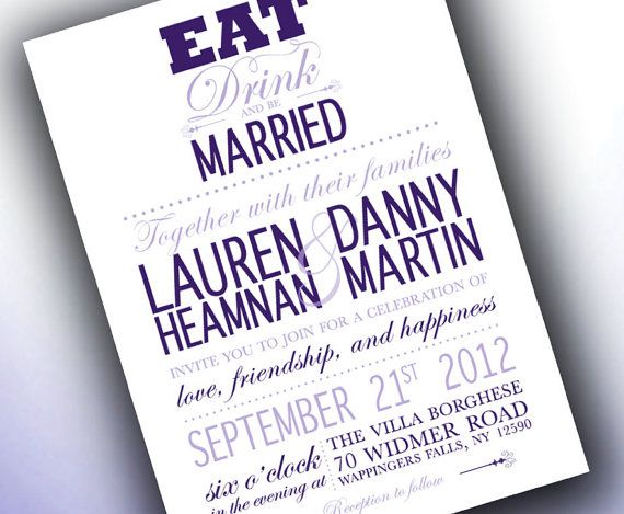 Wedding Invitations Eat Drink And Be Married: Eat Drink And Be Married Modern Wedding By TheMemoryTrunk