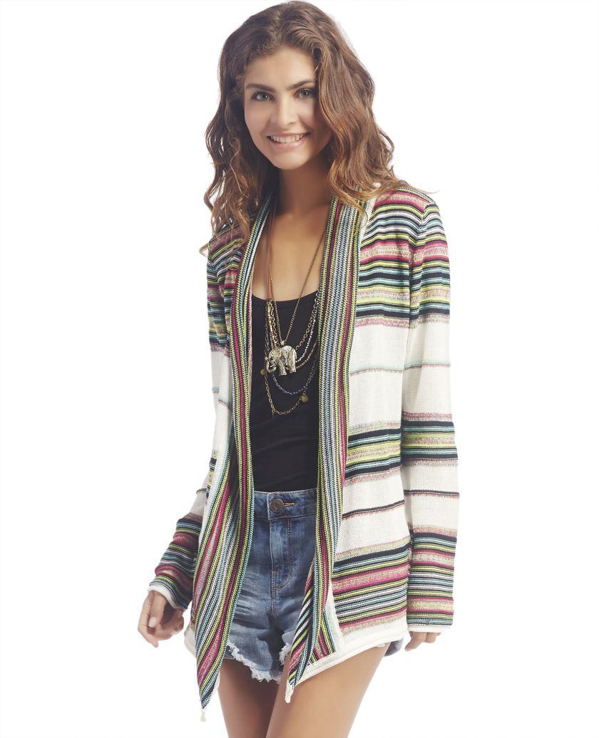 Striped Waterfall Front Cardigan | Wet Seal | Style & Fashion ...
