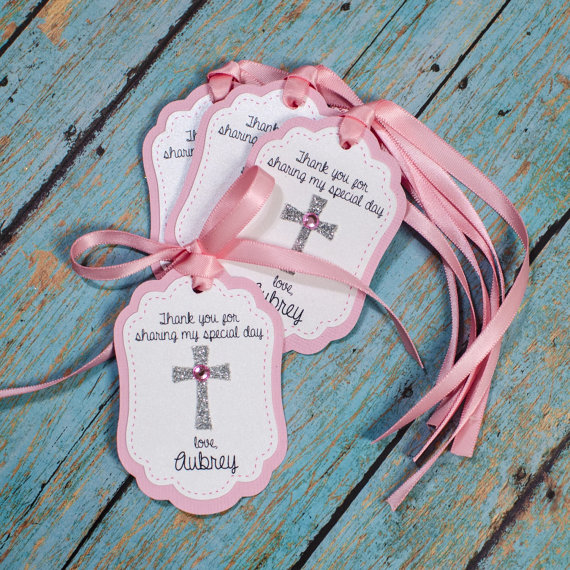 Ornament Christening Favors: 12 Baptism Personalized Favor Tags Cross By