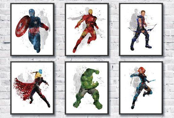 Avengers Watercolor Set 6 Superhero Art Iron man by gingerkidsart ...