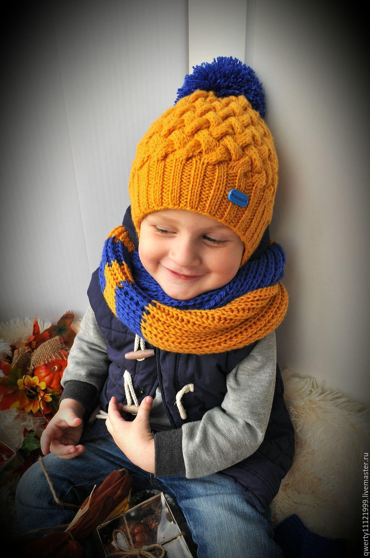 """Купить Комплект зимний """"Hot!!!"""" шапка, снуд, варежки - однотонный, горчичный цвет, шапка"""