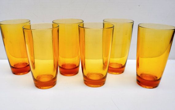 1970s amber gold drinking glasses  high ball by VirtuallyAntique, £15.00