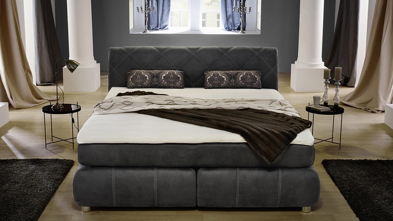 Delicieux Boxspringbett REBECCA Schlafzimmer Bett Antikoptik Grau Mit Topper 180