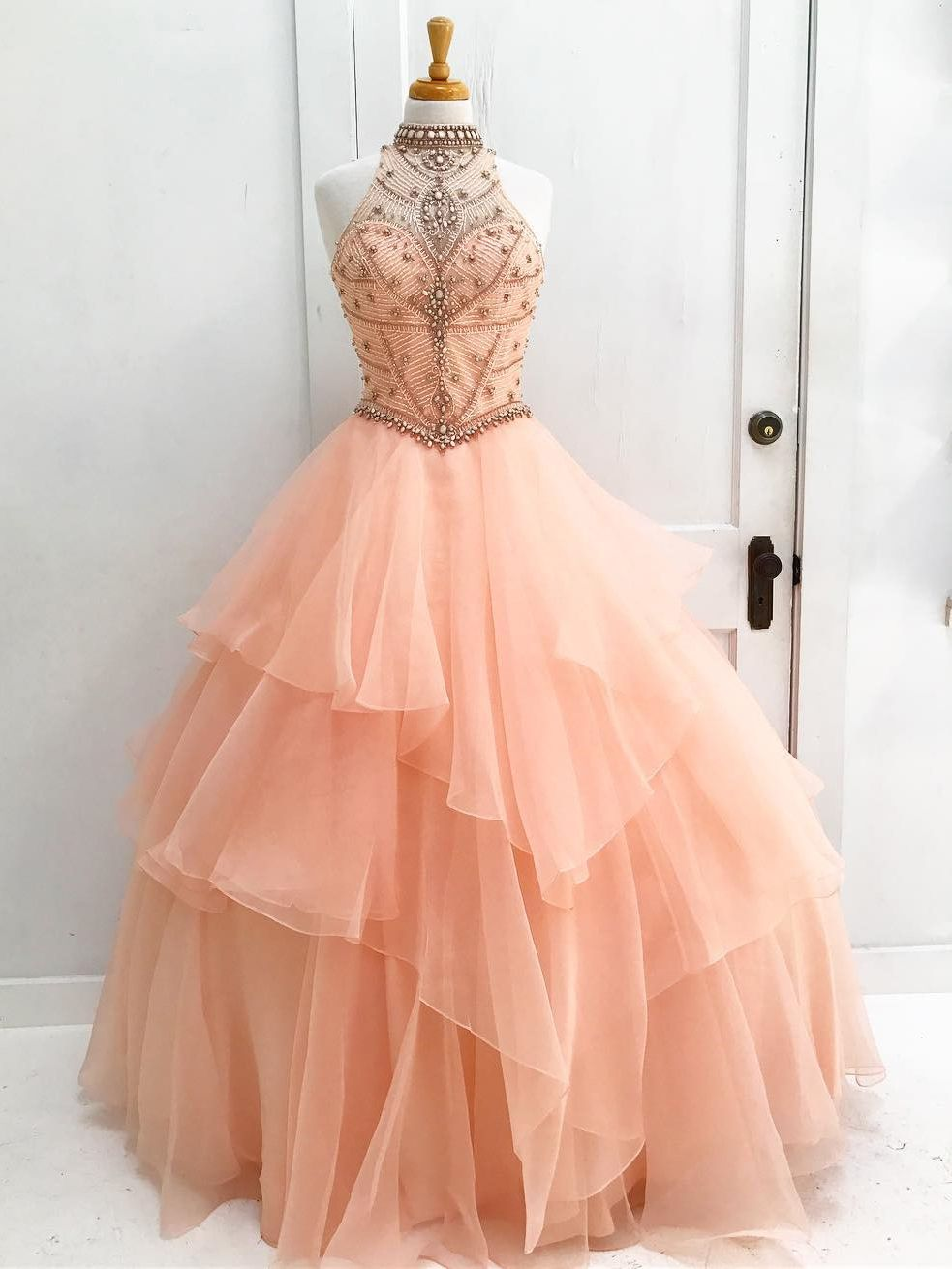 Gorgeous High Neck Beads Long Peach Ball Gown with Open Back | Ball ...