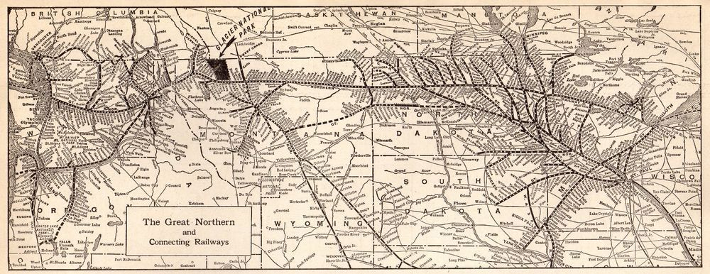 1923 Antique GREAT NORTHERN Railroad Map Vintage Railway Map 4232 ...
