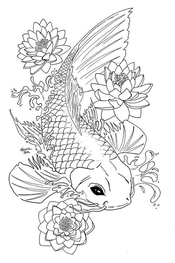 My Koi tattoo line artwork... colored version in progress. More of ...
