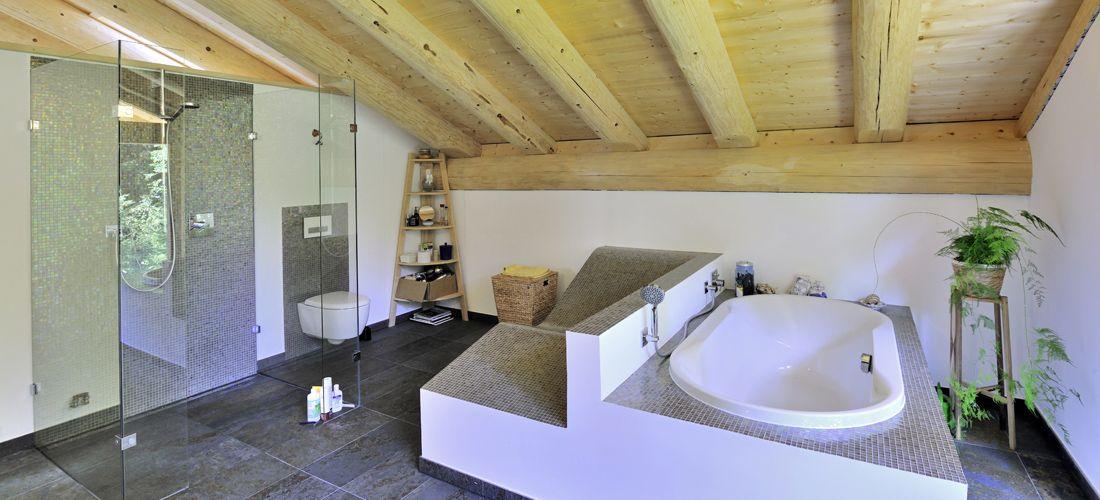 Badezimmer Mit Verputzen Wanden In Blockhaus Blockhaus Naturstammhaus Haus