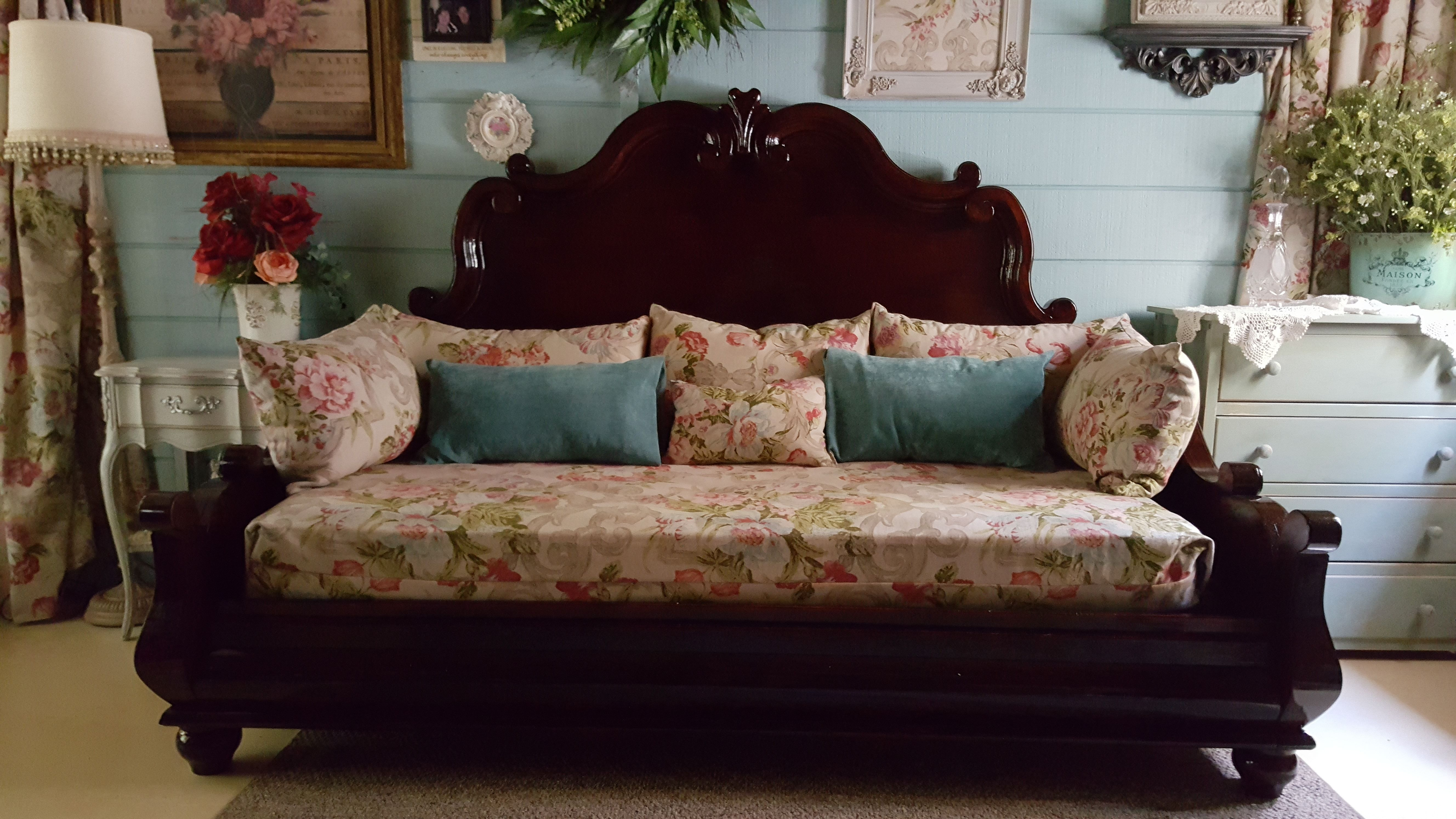 King head and foot board repurposed into a daybed with