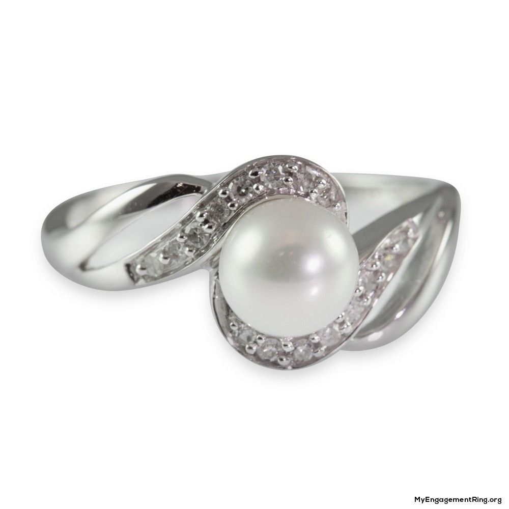 Diamond And Pearl Engagement Rings: 9k White Gold Diamond And Cultured Pearl Engagement Ring